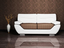 Un sofà e un vaso piacevole Fotografia Stock Libera da Diritti