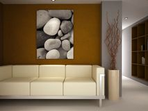 Un sofa dans une salle de luxe de salon Image libre de droits
