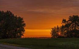 Un sol poniente anaranjado sobre un campo Foto de archivo libre de regalías