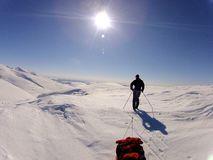 Un sol precioso en Noruega Imagenes de archivo