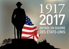 Un soldat américain devant son drapeau symbolisant l'entrée dans la guerre des Etats-Unis en 1917 illustration libre de droits
