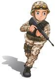 Un soldat courageux avec une arme à feu illustration libre de droits