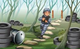 Un soldat dans la forêt illustration stock