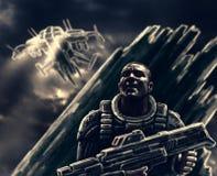 Un soldat effrayé se cache d'un bateau ennemi de vol illustration stock