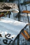Un sole della tazza di caffè di mattina Immagine Stock