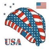 Un sombrero con la bandera americana Bosquejo a mano del sombrero con los símbolos de los E.E.U.U. Ilustración del vector Imagen de archivo libre de regalías