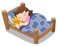 Un sommeil mignon de fille sur des rêves de ce soir illustration libre de droits