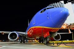 Un Southwest Airlines en el aeropuerto Imágenes de archivo libres de regalías
