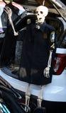 Un squelette portant un uniforme de police de ville de ceinture verte images libres de droits