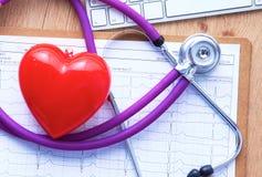 Un stéthoscope médical se trouve sur les antécédents médicaux patients du ` s sur un fond d'ordinateur Le concept des soins médic Photo libre de droits