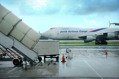 Un stationnement d'avions à l'aéroport de Changi Photographie stock