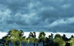 Un stormfront siniestro usurpa en la tarde pacífica en el playa Fotografía de archivo libre de regalías