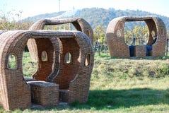 Un strandkorb los viñedos Fotografía de archivo