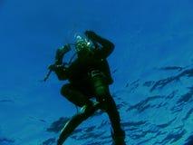 Operatore subacqueo ricevuto Immagini Stock