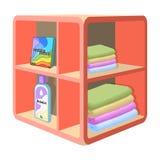 Un support dans la salle de bains pour la blanchisserie et les détergents Icône simple de meubles en stock isométrique de symbole Images libres de droits