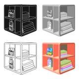 Un support dans la salle de bains pour la blanchisserie et les détergents Icône simple de meubles en stock isométrique de symbole Photographie stock libre de droits