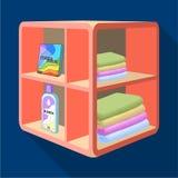Un support dans la salle de bains pour la blanchisserie et les détergents Icône simple de meubles en stock isométrique de symbole Images stock