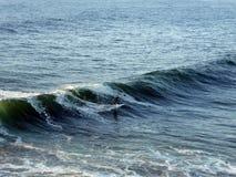 Un surfista che guida un'onda enorme immagine stock