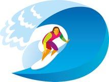 Un surfista con esperienza guida su un'onda enorme sulla spuma illustrazione vettoriale