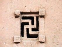 Un svastika a formé la fenêtre de l'église de Bete Maryam dans Lalibela, Ethi images stock