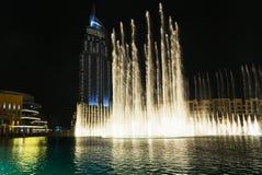 Un système détenteur de record de fontaine a placé sur Burj Khalifa Lake Photo libre de droits