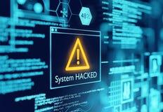 Un système informatique a entaillé l'avertissement image stock