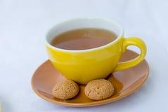 Un tè della tazza con i biscotti Fotografie Stock Libere da Diritti