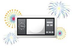 Un tabellone segnapunti con i fuochi d'artificio Fotografia Stock Libera da Diritti