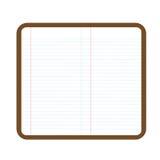 Un taccuino aperto con la pagina in bianco Fotografia Stock