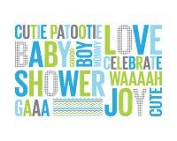 Un Tagcloud: ducha de bebé para un muchacho Imágenes de archivo libres de regalías