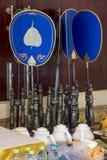 Un talipot évente au temple bouddhiste Asokaram Photo stock