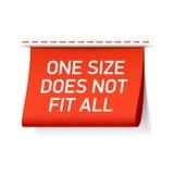 Un tamaño no cabe toda la etiqueta Imagen de archivo libre de regalías