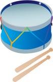 Un tamburo del giocattolo con le bacchette Fotografie Stock Libere da Diritti