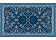 Un tapis oriental de raffinage de vintage luxueux avec bleu-foncé Photo stock