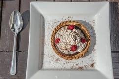 Un tartelette del cioccolato del lampone Fotografie Stock