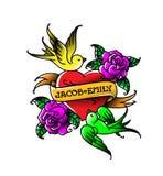 Un tatuaggio con un cuore e fiori ed uccelli Tatuaggio nello stile della vecchia scuola americana Tatuaggio piano di vettore Raga illustrazione vettoriale
