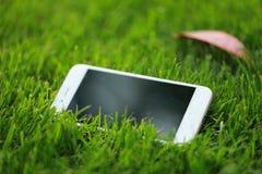 Un teléfono móvil elegante blanco del teléfono en césped de la hierba verde en jardín del parque de la primavera del verano en el fotografía de archivo
