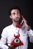 Un telephoneman felice Immagini Stock