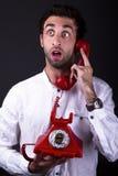 Un telephoneman sorpreso Fotografia Stock