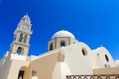 Un tempiale piacevole a Fira, Santorini, Grecia Immagini Stock Libere da Diritti