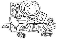 Un terapeuta de discurso de los niños con los juguetes, libros, letras, espejo ilustración del vector