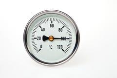 Un termómetro circular. Imagenes de archivo