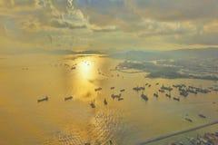 un terminale di contenitore del ponte degli scalpellini HK port immagine stock