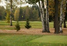 Un terrain de golf avec des routes, des soutes et des étangs images stock