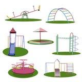 Un terrain de jeu du ` s d'enfants Un ensemble d'illustrations Images libres de droits