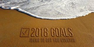Un testo di 2018 scopi nell'immagine della foto della spiaggia Fotografia Stock Libera da Diritti