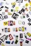 Un testo di scrittura di parola che mostra concetto di che cosa vi fanno Think fatto della lettera differente del giornale della  Fotografie Stock Libere da Diritti
