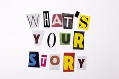 Un testo di scrittura di parola che mostra concetto della CHE VOSTRA STORIA del ` S ha fatto della lettera differente del giornal Immagine Stock