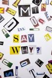 Un testo di scrittura di parola che mostra il concetto di dice perché domanda fatta della lettera differente del giornale della r Immagini Stock Libere da Diritti