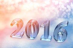 Un testo di vetro di 2016 Natali del nuovo anno su neve Immagine Stock Libera da Diritti